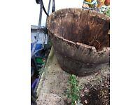 Large Oak Half Barrel used as Garden Planter