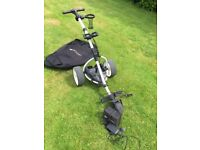 Motocaddy S1 gold trolley with charger, battery and travel bag