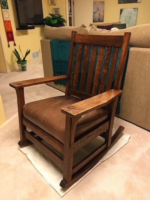 Stickley Arm Rocker Arts And Crafts Style Mission Oak Rocker Rocking Chair