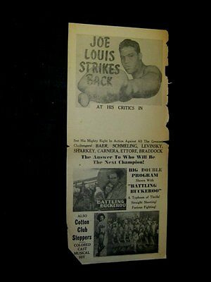 Original 1932 JOE LOUIS STRIKES BACK Movie Broadside COTTON CLUB STEPPERS