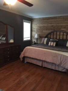 King Size Frame with Headboard and Dresser / Mirror