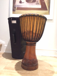 Large Authentic Pro Djembe - African Hand Drum w Carrying Case