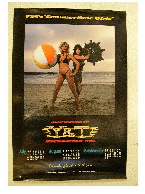 Y and T Poster Calendar Y&T Y & T YandT Summertime OLD