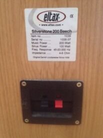 A pair of floor standing Eltax Silverstone 200 Beech speakers in good condition