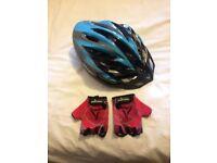 bike helmet and gloves