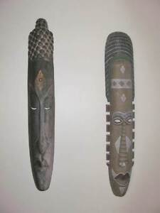 Two Large African / Indian Carved Wooden Wall Masks (Wall Art) Hillarys Joondalup Area Preview