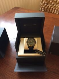 Raymond Weil Freelancer new with tags Black watch, black strap with orange markings new