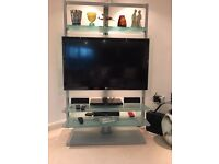 Modern rotating TV mount/stand with glass shelving
