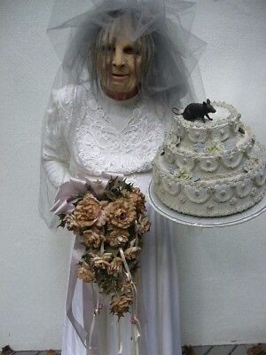 MISS HAVISHAM WEDDING DRESS COSTUME + CAKE FLOWERS MASK $175.
