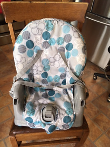 Portable High Chair, Padded, 3 levels, feed trays, Blue and Grey
