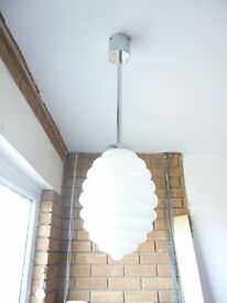 Habitat chrome fitting and white glass light shade