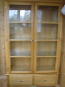 for sale wood and glass hutch for sale