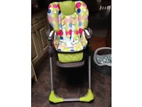 CHICCO Polly 2in1 Padded High Chair adjustable backrest and seat height as new