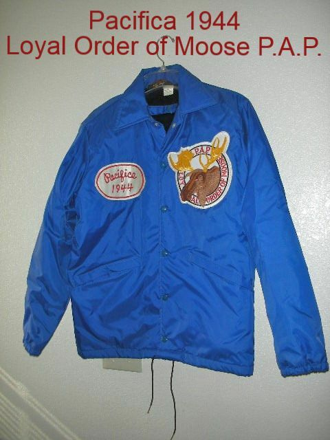 Rare Vintage PACIFICA CA 1944 PAP Loyal Order of Moose Logo Sz S 36-38 Jacket