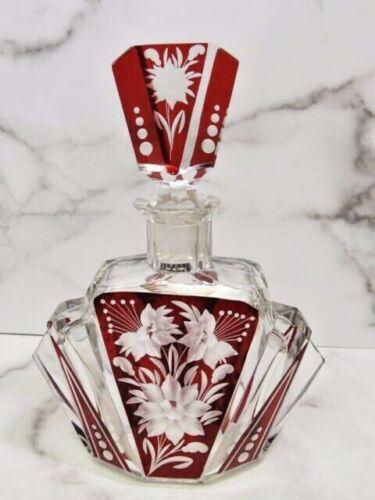 Karl Palda for Haida Art Deco Decanter Ruby Red Cut Bohemian Glass