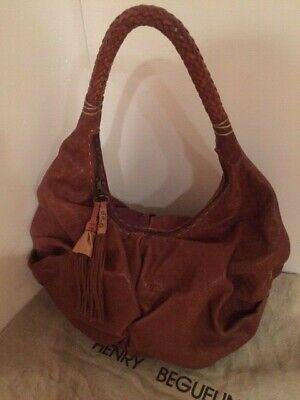 Henry Cuir Beguelin Distressed Cognac Brown Leather Hobo Handbag  # 2060