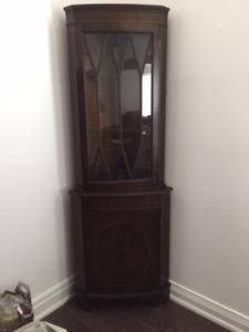 Antique Corner Curio cabinet For Sale.