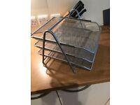 Osco Mesh Silver Desk Organiser, Pencil Pot, Magazine Rack or Tray (Front Load 3-Tier Letter Tray)