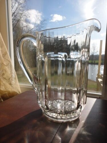 """Imperial Glass Pitcher Clear Glass Paneled Optic 48oz or 6 cups 8-1/4""""t Vintage"""