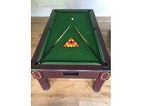 Pool Table 6' x 4', with Accessories including Pool Balls, Snooker Balls, Cues, Triangle and Chalk.