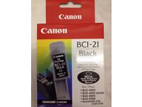 BNIP Genuine Original *CANON* BCI-21 Black Ink Cartridge Sealed Inkjet Printer