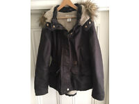Girls dark grey/black winter coat by H&M (age 11-12)
