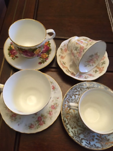 Heirloom Bone China Cup and Saucer Sets in Perfect Condition!
