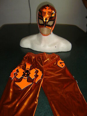 REY MYSTERIO NARANJA SUIT 6-10 year COSTUME FANCY DRESS orange - Rey Mysterio Suit