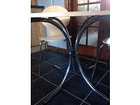 Beech Dining Room Table With Chromed Semi-Circular 'Leg' Design