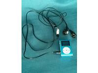 Blue Metal MP3 Shuffle Player/ Radio, Screen