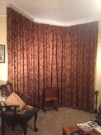 Curtains for Edwardian Terrace bay window; full length, fully lined, heavy weight