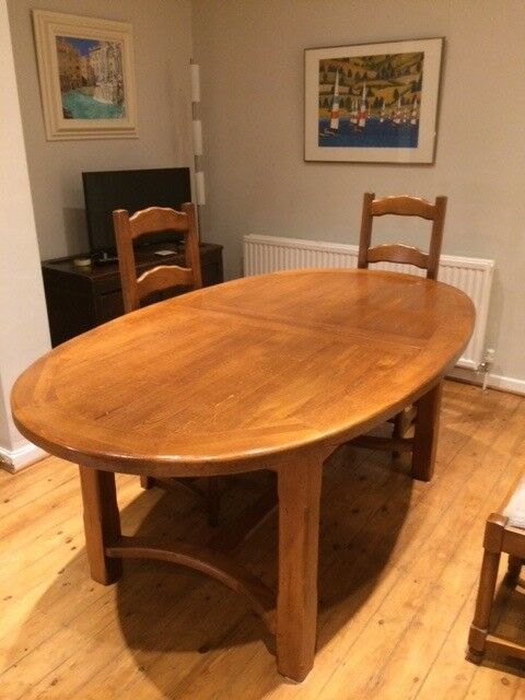Large Oval French Oak Dining Table And 6 Chairs