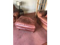 Leather Suite and chair & foot Stool