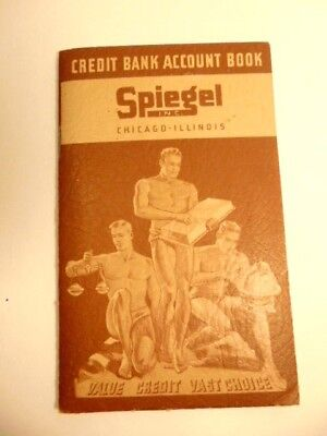 vintage 1938 Speigel Credit Bank Account Book: art deco shirtless men on cover