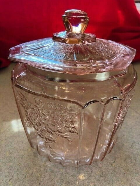 Anchor Hocking MAYFAIR PINK Rose Depression Glass Cookie Biscuit Jar & Lid