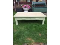 Solid wood heavy upcycled table with 2 drawers, £20