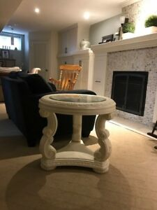 Large Wood and Glass Coffee Table with Matching End Table