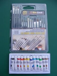 15pc Artist's Brushes + 12 Tubes Acrylic Paint Set Art