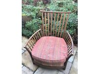 Ercol Renaissance High Back ash wooden frame pair armchairs--new would be £2000 each