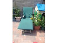 Green sun lounger cushion