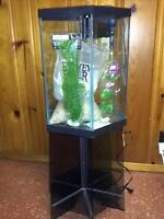 18 gallon hexagon Tank with glass stand, cover and accessories