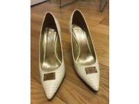 Versace white leather shoes, size 38
