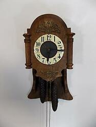 ORIGINAL BLACK FOREST ART NOUVEAU PENDULUM OAK WOODEN WALL CLOCK GERMANY 1905