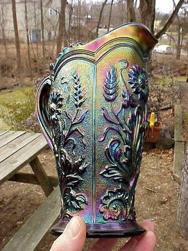 Imperial Purple #494½ FIELD FLOWER Carnival Glass Tankard Water Pitcher, Beauty!