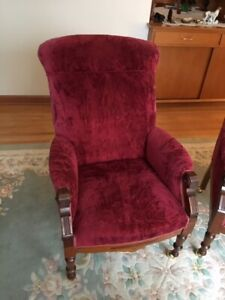 Vintage Antique carved French mahogany high back chairs