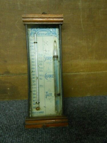 ANTIQUE STANDARD  THERMOMETER TIN LITHO WOOD WEATHER GAUGE SIGN