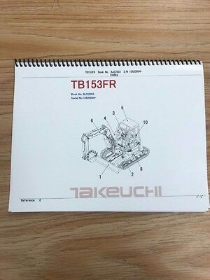 Takeuchi Tb153fr Parts Manual Sn 15820004 Free Priority Shipping