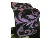 BLACK/PURPLE POLYPROPYLENE CARVED FLORAL RUNNER RUG 60X230CM