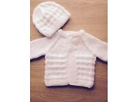 Handknitted Baby Cardi and Hat ~ Newborn size ~ White