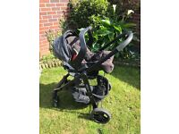 Black Graco Evo Travel system - includes, car seat, base, stroller, pram top, umbrella and covers